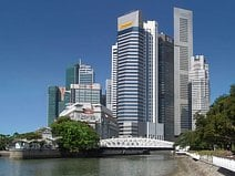 photo de Raffles Place qui est le centre du quartier d'affaire de Singapour
